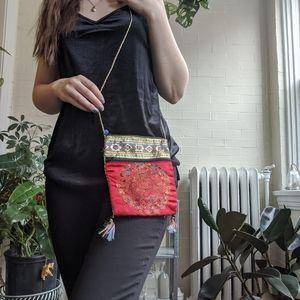 Small Red cross body purse Asian Design